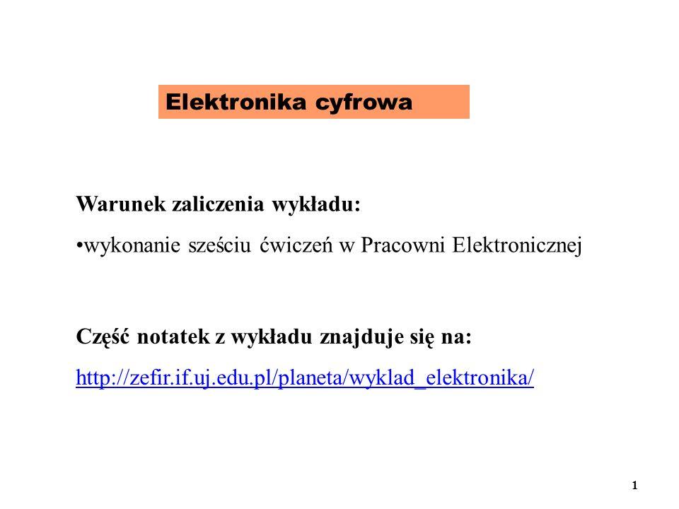 Elektronika cyfrowa Warunek zaliczenia wykładu: wykonanie sześciu ćwiczeń w Pracowni Elektronicznej Część notatek z wykładu znajduje się na: http://ze