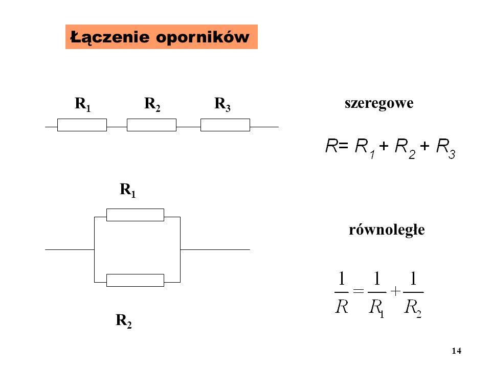 Łączenie oporników R1R1 R2R2 R3R3 R1R1 R2R2 szeregowe równoległe 14
