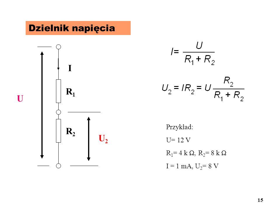 Dzielnik napięcia U R1R1 R2R2 I U2U2 Przykład: U= 12 V R 1 = 4 k, R 2 = 8 k I = 1 mA, U 2 = 8 V 15