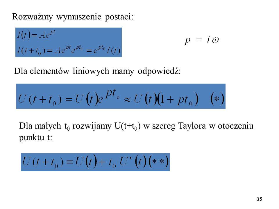 Rozważmy wymuszenie postaci: Dla elementów liniowych mamy odpowiedź: Dla małych t 0 rozwijamy U(t+t 0 ) w szereg Taylora w otoczeniu punktu t: 35