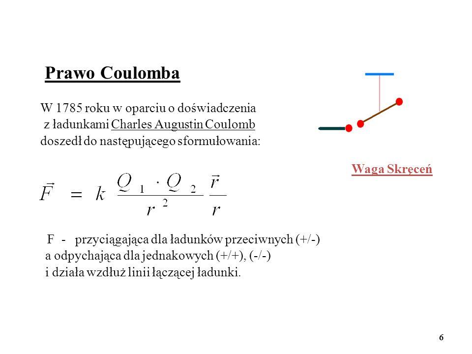 Prawo Coulomba W 1785 roku w oparciu o doświadczenia z ładunkami Charles Augustin Coulomb doszedł do następującego sformułowania: F - przyciągająca dl