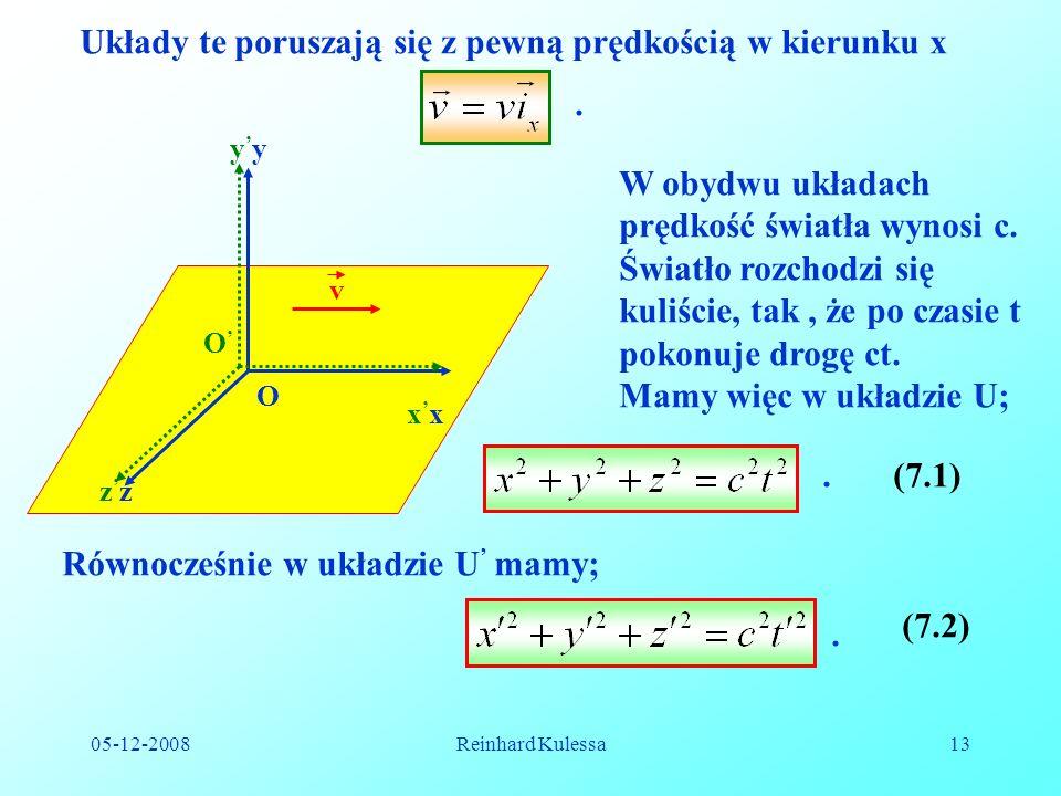 05-12-2008Reinhard Kulessa13 Układy te poruszają się z pewną prędkością w kierunku x.