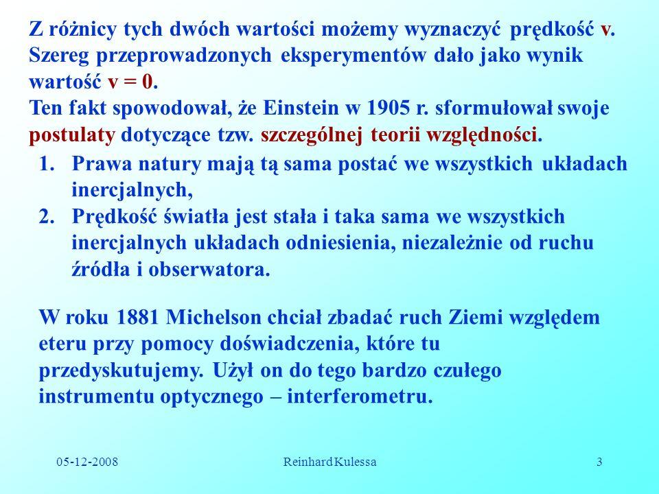 05-12-2008Reinhard Kulessa24 (7.11) (gdzie maksymalna wartość u=c, oraz v=c), otrzymujemy; 1 2 v/c 01 u/c Porównując dodawanie dwóch jednakowych prędkości u = v według Galileusza i Einsteina