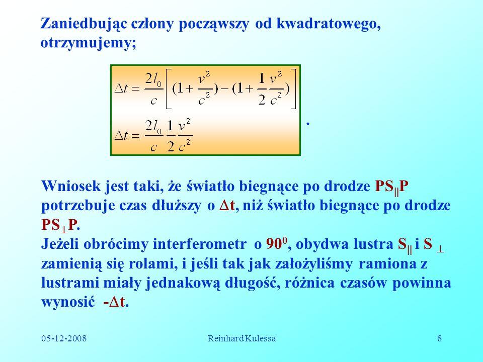 05-12-2008Reinhard Kulessa19 Jeśli w chwili pokrywania się układów dla (x = 0, t = 0, oraz x = 0, t = 0) w początku układów zajdzie błysk światła, to ze względu na to, że światło rozchodzi się w każdym z tych układów z prędkością c, mamy;.