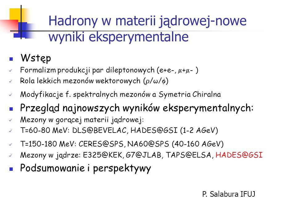 Hadrony w materii jądrowej-nowe wyniki eksperymentalne Wstęp Formalizm produkcji par dileptonowych (e+e-, + - ) Rola lekkich mezonów wektorowych ( / /