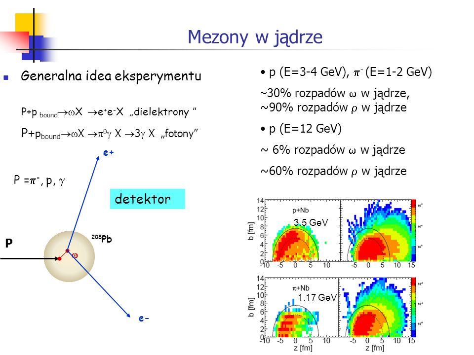Mezony w jądrze Generalna idea eksperymentu P+p bound X e + e - X dielektrony P +p bound X 0 X 3 X fotony e+ e- 208 Pb P = -, p, detektor P p (E=3-4 G