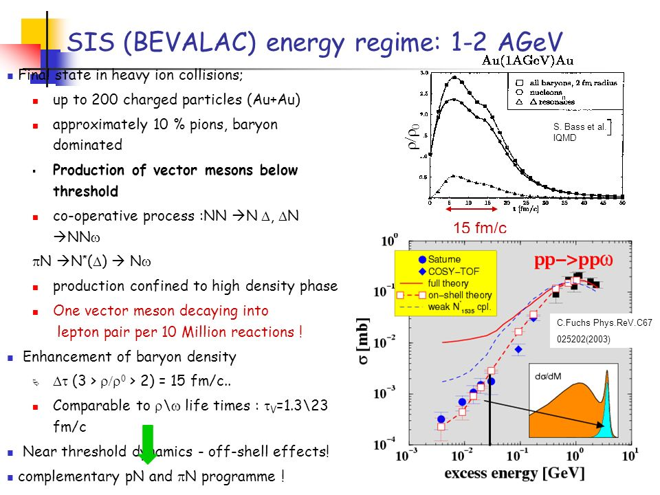 SIS (BEVALAC) energy regime: 1-2 AGeV Final state in heavy ion collisions; up to 200 charged particles (Au+Au) approximately 10 % pions, baryon domina