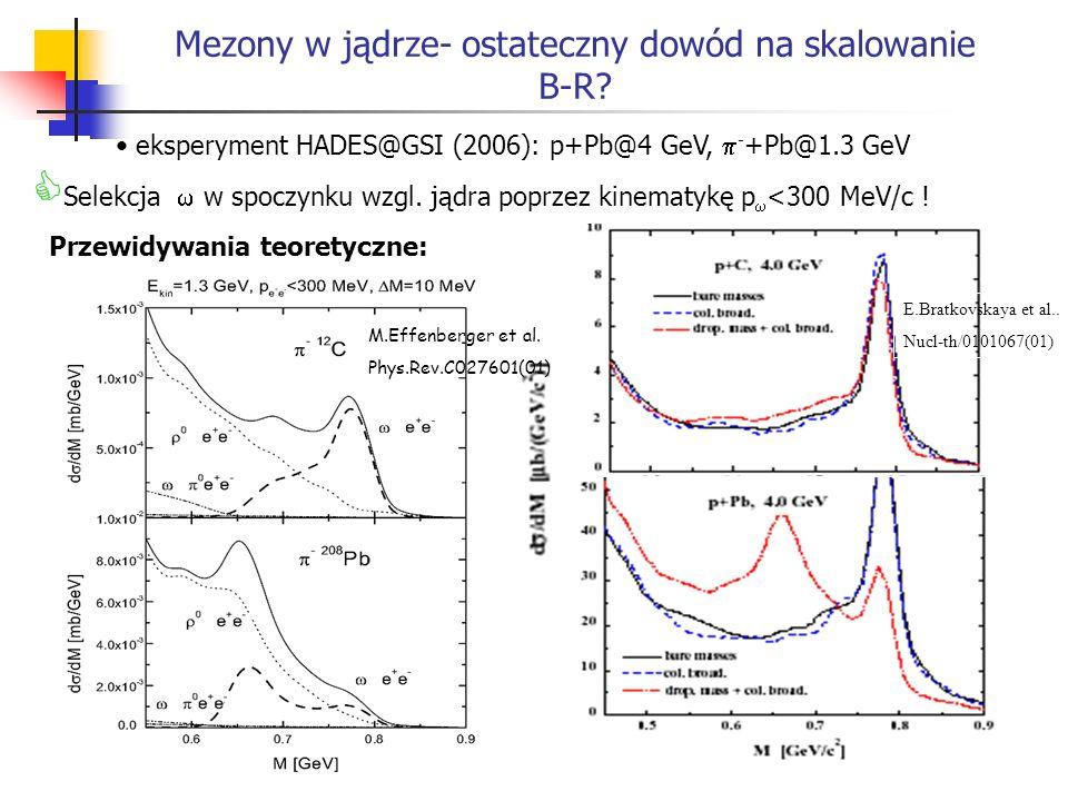 Mezony w jądrze- ostateczny dowód na skalowanie B-R? eksperyment HADES@GSI (2006): p+Pb@4 GeV, - +Pb@1.3 GeV Selekcja w spoczynku wzgl. jądra poprzez