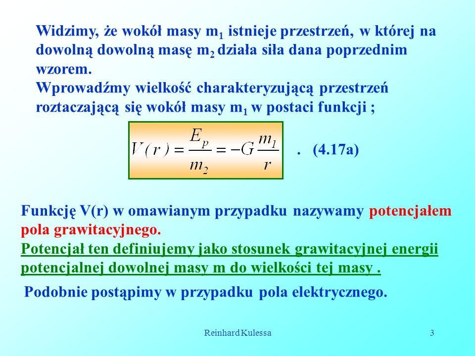 Reinhard Kulessa3 Widzimy, że wokół masy m 1 istnieje przestrzeń, w której na dowolną dowolną masę m 2 działa siła dana poprzednim wzorem. Wprowadźmy