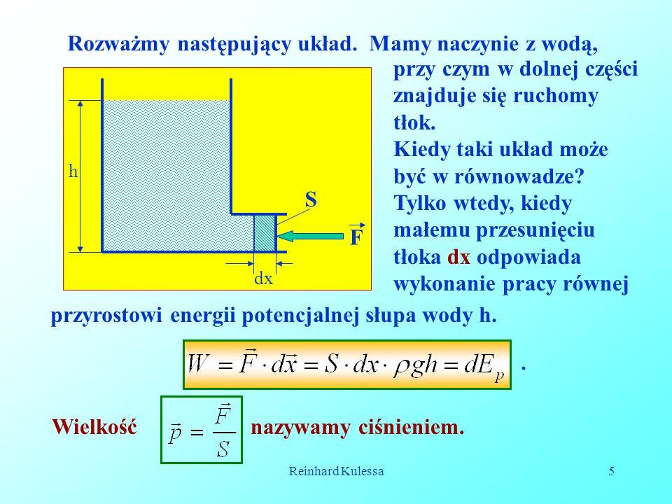 Reinhard Kulessa5 Rozważmy następujący układ. Mamy naczynie z wodą, dx h S F przy czym w dolnej części znajduje się ruchomy tłok. Kiedy taki układ moż