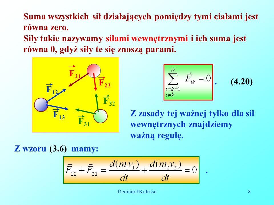 Reinhard Kulessa8 Suma wszystkich sił działających pomiędzy tymi ciałami jest równa zero. Siły takie nazywamy siłami wewnętrznymi i ich suma jest równ