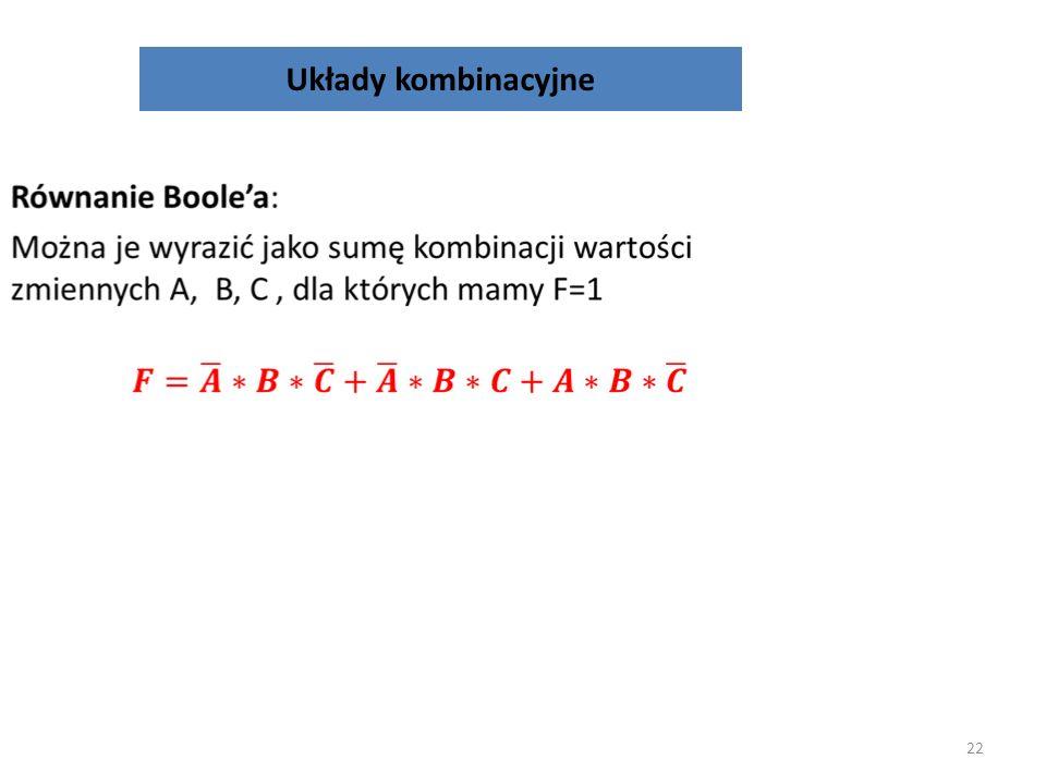 Układy kombinacyjne 21 Tablica prawdy: Sygnały wejścioweSygnał wyjściowy ABCF 0000 0010 0101 0111 1000 1010 1101 1110