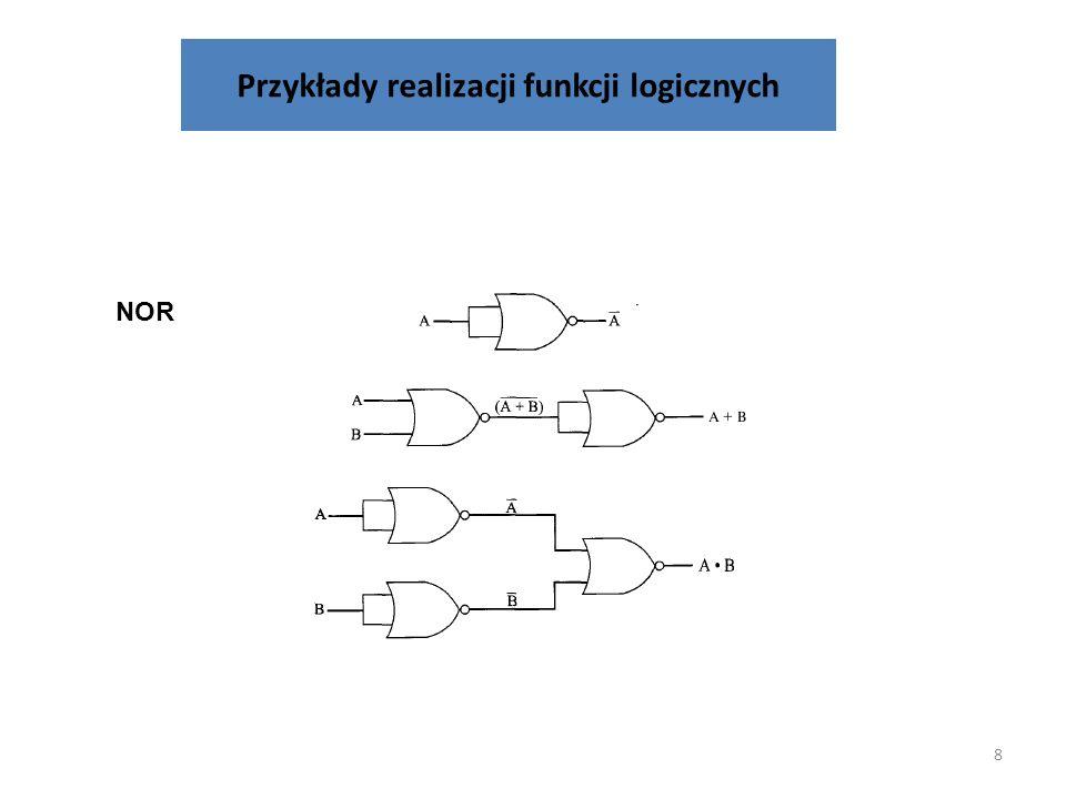 38 Układy logiczne realizujące kod siedmiosegmentowego wyświetlacza BC A 0 01111 0 01110 11111 Dla segmentu c mamy: