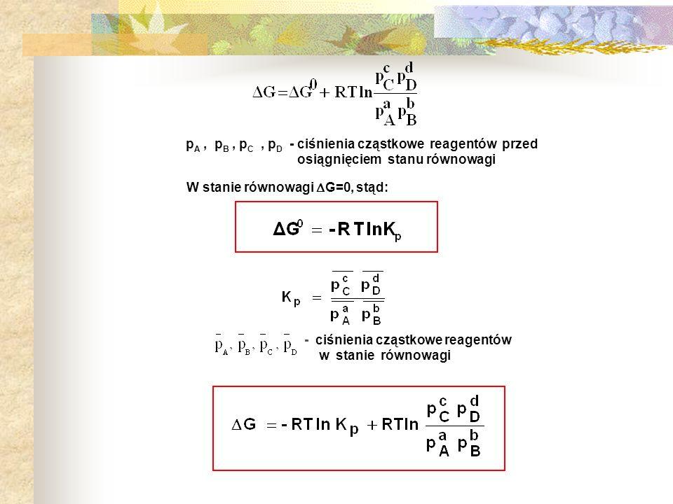 p A, p B, p C, p D - ciśnienia cząstkowe reagentów przed osiągnięciem stanu równowagi - ciśnienia cząstkowe reagentów w stanie równowagi W stanie równ