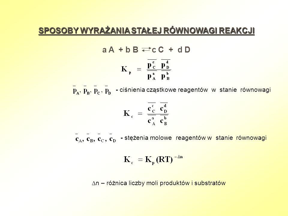 SPOSOBY WYRAŻANIA STAŁEJ RÓWNOWAGI REAKCJI a A + b B c C + d D - ciśnienia cząstkowe reagentów w stanie równowagi - stężenia molowe reagentów w stanie