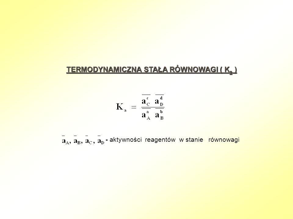 TERMODYNAMICZNA STAŁA RÓWNOWAGI ( K a ) - aktywności reagentów w stanie równowagi