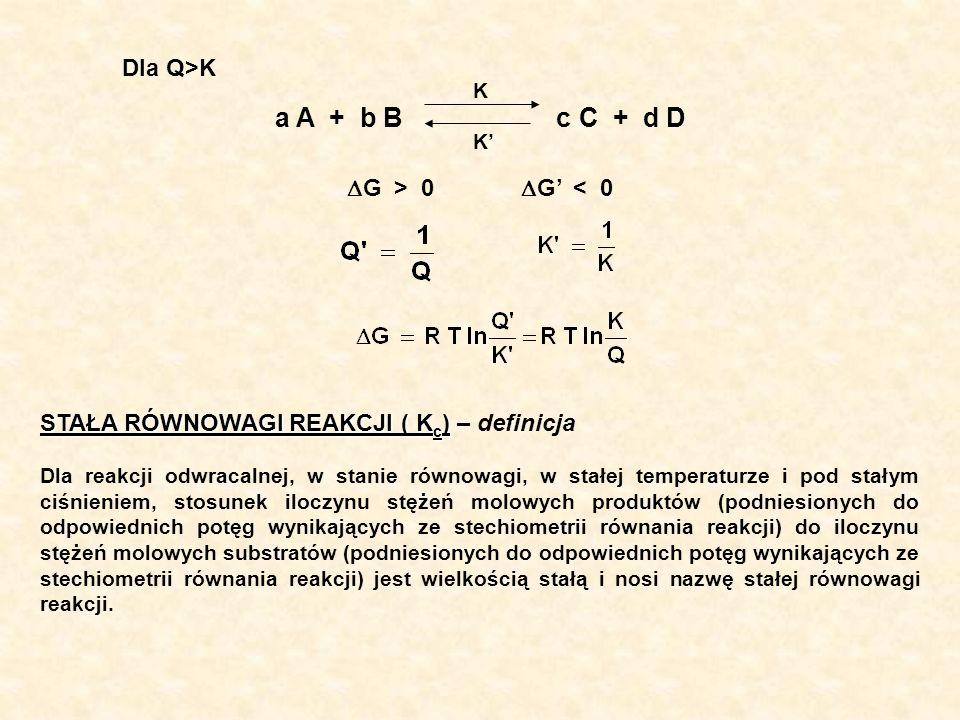 K KK K a A + b B c C + d D G > 0 G < 0 STAŁA RÓWNOWAGI REAKCJI ( K c ) STAŁA RÓWNOWAGI REAKCJI ( K c ) – definicja Dla reakcji odwracalnej, w stanie r
