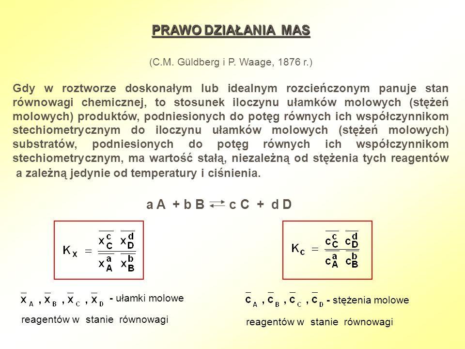 PRAWO DZIAŁANIA MAS (C.M. Güldberg i P. Waage, 1876 r.) Gdy w roztworze doskonałym lub idealnym rozcieńczonym panuje stan równowagi chemicznej, to sto