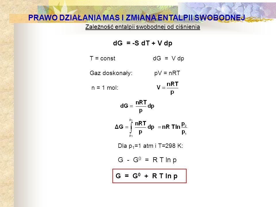 Zależność entalpii swobodnej od ciśnienia dG = -S dT + V dp T = const dG = V dp Gaz doskonały: pV = nRT n = 1 mol: G = G 0 + R T ln p G - G 0 = R T ln