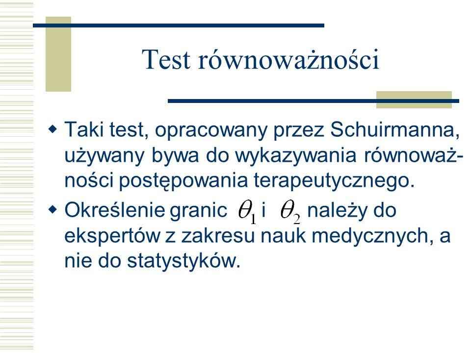 Test równoważności Taki test, opracowany przez Schuirmanna, używany bywa do wykazywania równoważ- ności postępowania terapeutycznego. Określenie grani