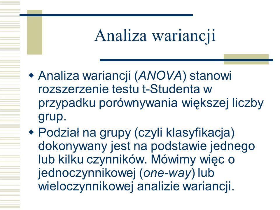 Analiza wariancji Analiza wariancji (ANOVA) stanowi rozszerzenie testu t-Studenta w przypadku porównywania większej liczby grup. Podział na grupy (czy