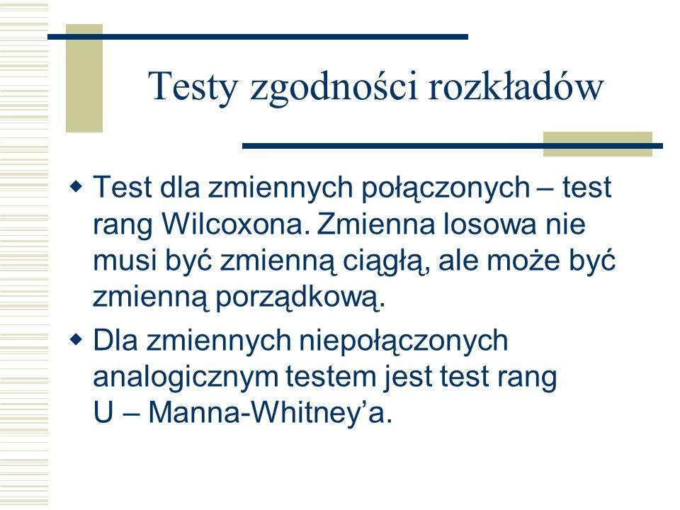 Testy zgodności rozkładów Test dla zmiennych połączonych – test rang Wilcoxona. Zmienna losowa nie musi być zmienną ciągłą, ale może być zmienną porzą