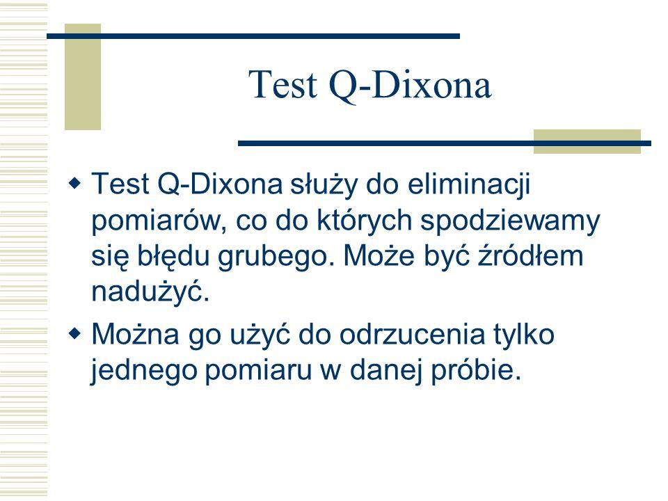 Test Q-Dixona Test Q-Dixona służy do eliminacji pomiarów, co do których spodziewamy się błędu grubego. Może być źródłem nadużyć. Można go użyć do odrz