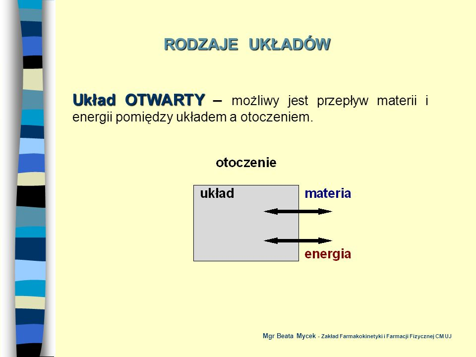 Układ ZAMKNIĘTY Układ ZAMKNIĘTY – możliwy jest przepływ energii, a nie zachodzi wymiana materii pomiędzy układem a otoczeniem.