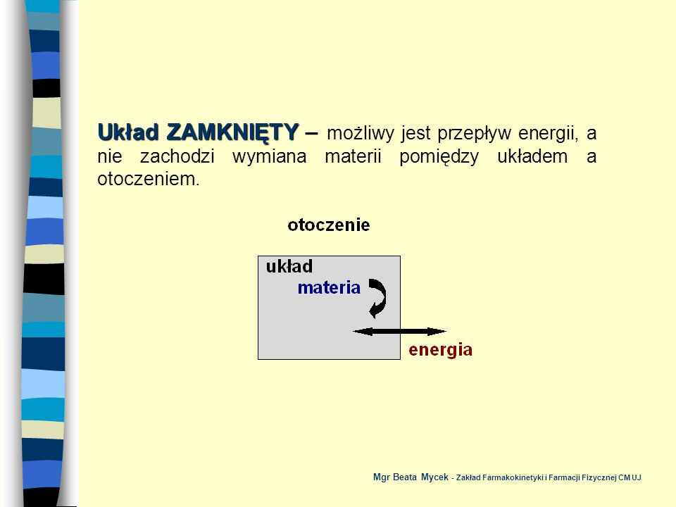 Układ IZOLOWANY Układ IZOLOWANY – nie ma wymiany materii i energii pomiędzy układem a otoczeniem.