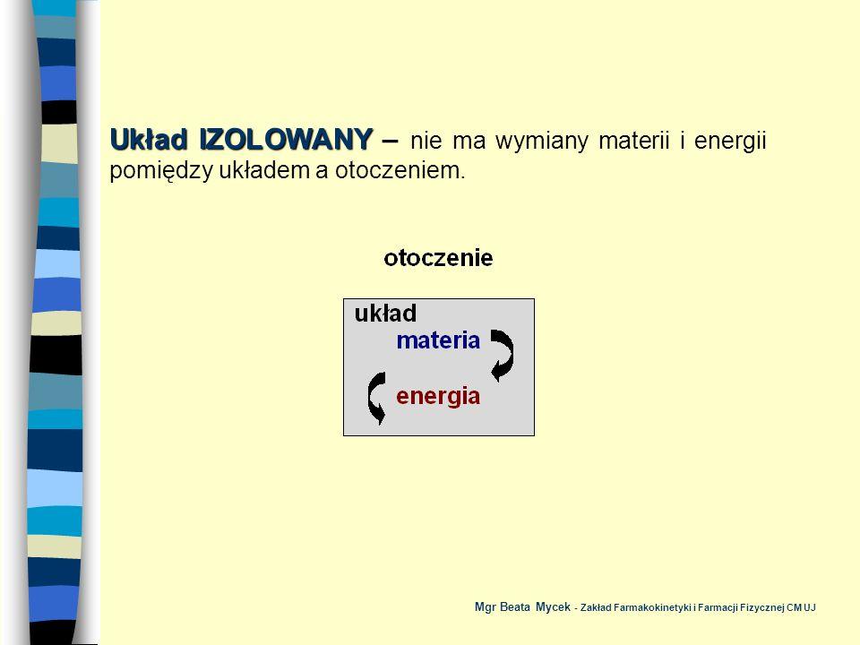Układ IZOLOWANY ADIABATYCZNIE Układ IZOLOWANY ADIABATYCZNIE – nie zachodzi wymiana materii i ciepła pomiędzy układem a otoczeniem, natomiast możliwa jest wymiana energii np.