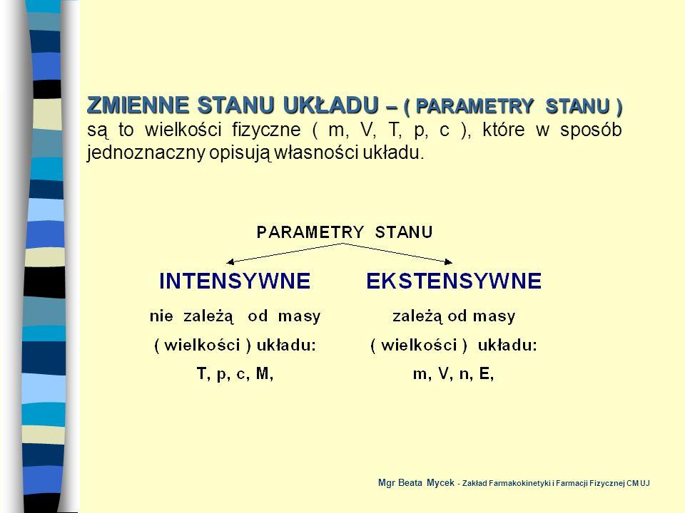 RÓWNANIE STANU GAZU DOSKONAŁEGO - najprostsze równanie wiążące parametry stanu układu - Mgr Beata Mycek - Zakład Farmakokinetyki i Farmacji Fizycznej CM UJ