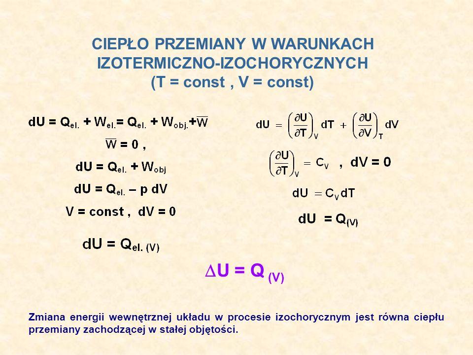 Zmiana energii wewnętrznej układu w procesie izochorycznym jest równa ciepłu przemiany zachodzącej w stałej objętości. CIEPŁO PRZEMIANY W WARUNKACH IZ
