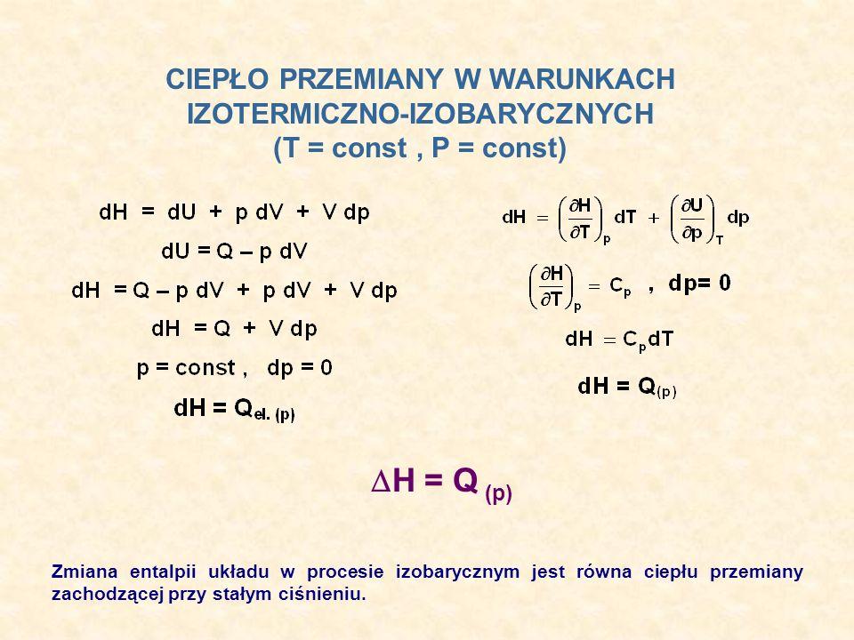 CIEPŁO PRZEMIANY W WARUNKACH IZOTERMICZNO-IZOBARYCZNYCH (T = const, P = const) H = Q (p) Zmiana entalpii układu w procesie izobarycznym jest równa cie