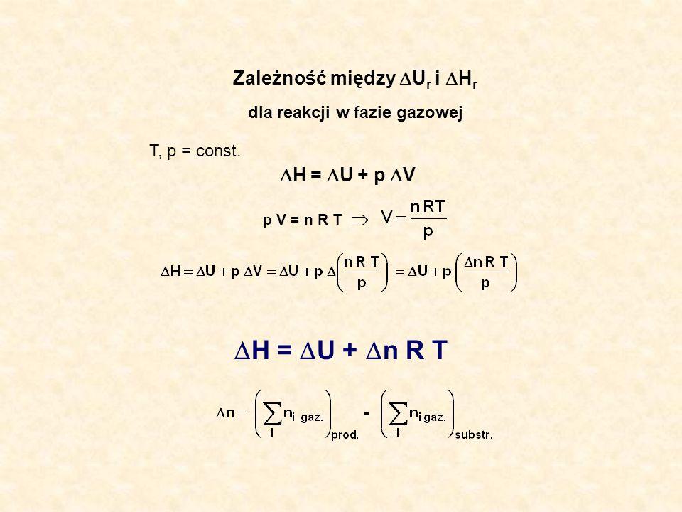 Zależność między U r i H r dla reakcji w fazie gazowej T, p = const. H = U + p V p V = n R T H = U + n R T