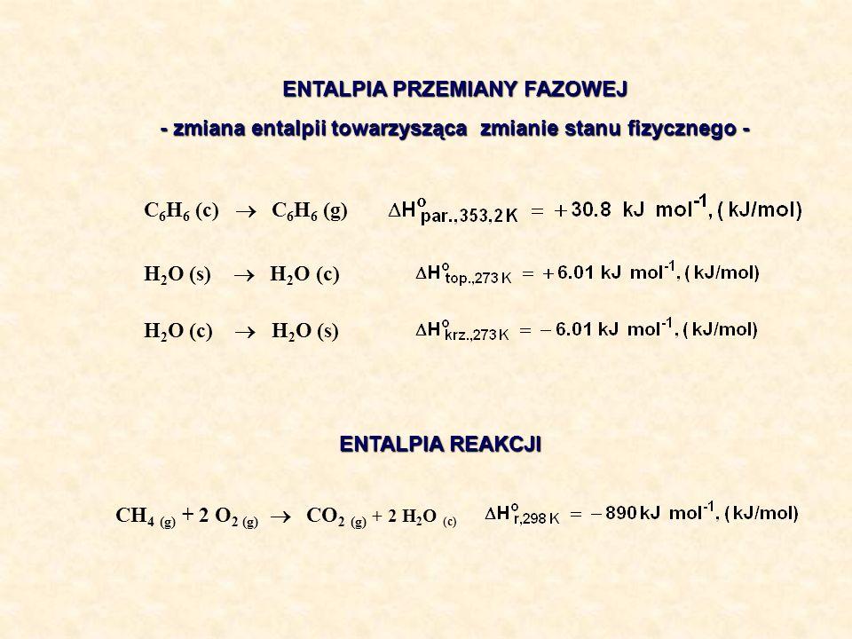 ENTALPIA PRZEMIANY FAZOWEJ - zmiana entalpii towarzysząca zmianie stanu fizycznego - ENTALPIA REAKCJI H 2 O (s) H 2 O (c) H 2 O (c) H 2 O (s) C 6 H 6