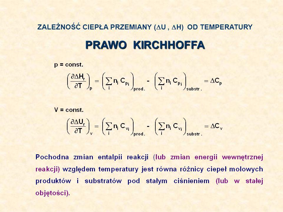 ZALEŻNOŚĆ CIEPŁA PRZEMIANY ( U, H) OD TEMPERATURY PRAWO KIRCHHOFFA