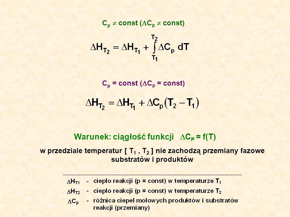 w przedziale temperatur [ T 1, T 2 ] nie zachodzą przemiany fazowe substratów i produktów C p const ( C p const) C p = const ( C p = const) Warunek: c