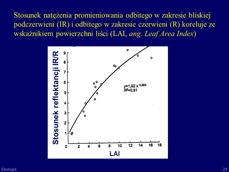 25 Ekologia Stosunek natężenia promieniowania odbitego w zakresie bliskiej podczerwieni (IR) i odbitego w zakresie czerwieni (R) koreluje ze wskaźniki