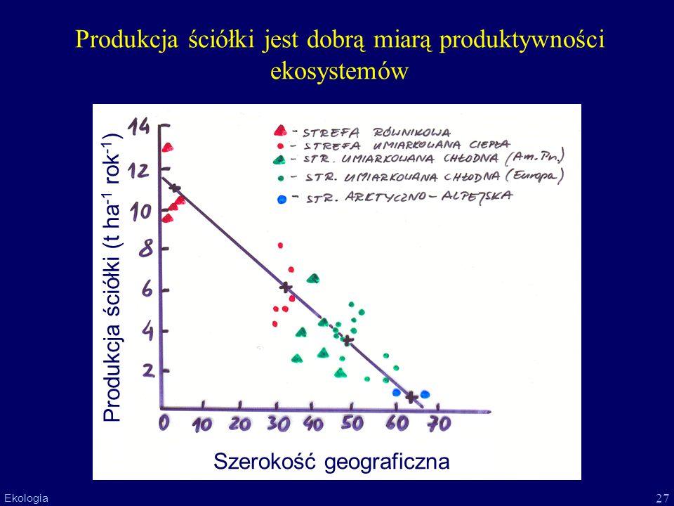 27 Ekologia Produkcja ściółki jest dobrą miarą produktywności ekosystemów Szerokość geograficzna Produkcja ściółki (t ha -1 rok -1 )