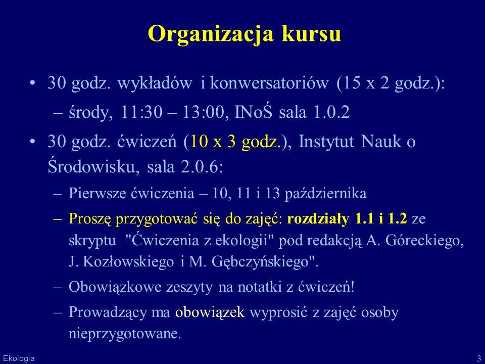 3 Ekologia Organizacja kursu 30 godz. wykładów i konwersatoriów (15 x 2 godz.): –środy, 11:30 – 13:00, INoŚ sala 1.0.2 30 godz. ćwiczeń (10 x 3 godz.)