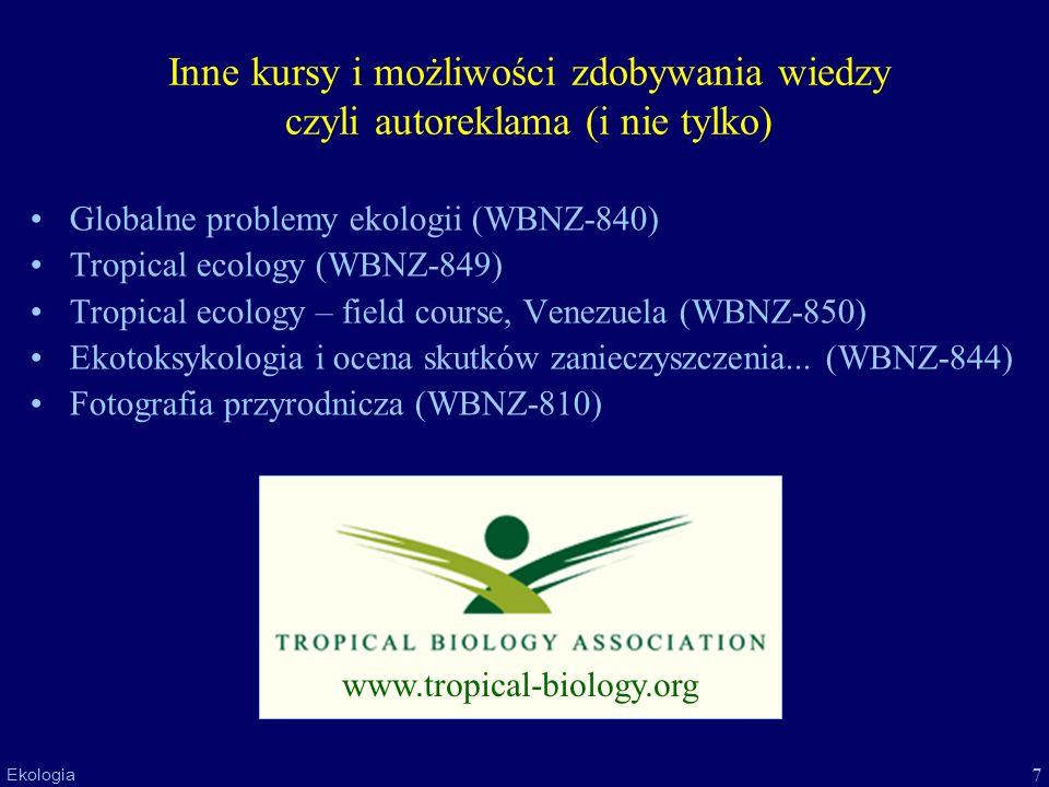 7 Ekologia Inne kursy i możliwości zdobywania wiedzy czyli autoreklama (i nie tylko) Globalne problemy ekologii (WBNZ-840) Tropical ecology (WBNZ-849)