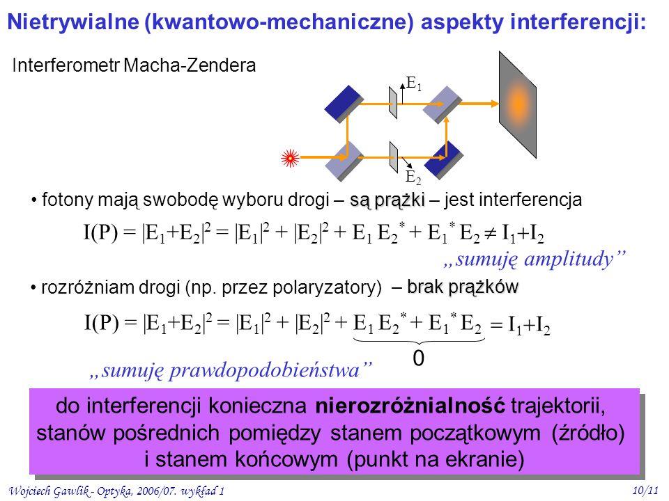 Wojciech Gawlik - Optyka, 2006/07. wykład 1 10/11 Nietrywialne (kwantowo-mechaniczne) aspekty interferencji: Interferometr Macha-Zendera rozróżniam dr