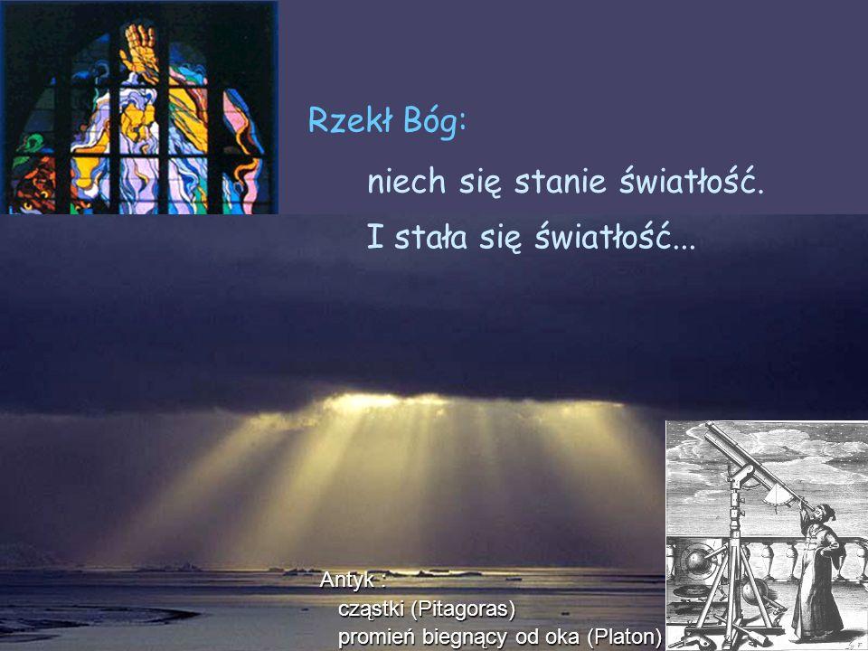 Wojciech Gawlik - Optyka, 2006/07. wykład 1 2/11 niech się stanie światłość. Rzekł Bóg: I stała się światłość... Antyk : cząstki (Pitagoras) cząstki (