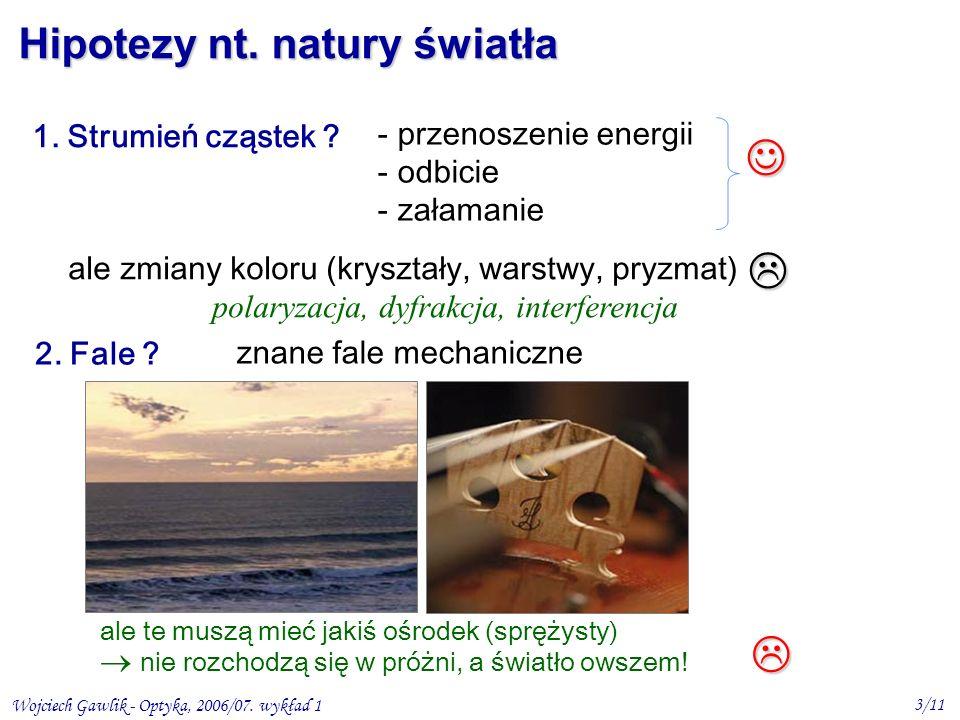 Wojciech Gawlik - Optyka, 2006/07. wykład 1 3/11 Hipotezy nt. natury światła 1. Strumień cząstek ? - przenoszenie energii - odbicie - załamanie ale zm