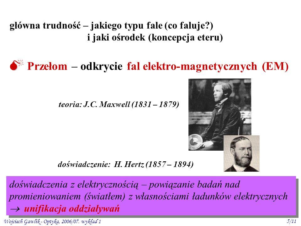 Wojciech Gawlik - Optyka, 2006/07. wykład 1 5/11 Przełom – odkrycie fal elektro-magnetycznych (EM) główna trudność – jakiego typu fale (co faluje?) i