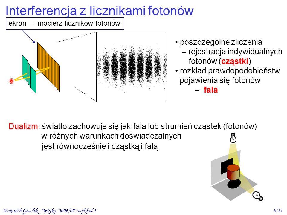 Wojciech Gawlik - Optyka, 2006/07. wykład 1 8/11 Interferencja z licznikami fotonów poszczególne zliczenia – rejestracja indywidualnych cząstki fotonó