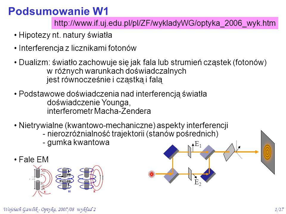 Wojciech Gawlik - Optyka, 2007/08 wykład 21/17 Podsumowanie W1 Hipotezy nt. natury światła Interferencja z licznikami fotonów Dualizm: światło zachowu