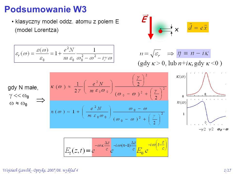 Wojciech Gawlik - Optyka, 2007/08. wykład 41/15 Podsumowanie W3 klasyczny model oddz. atomu z polem E (model Lorentza) x E n ( ) 1 0 – /2 /2 2 2 0 2 0