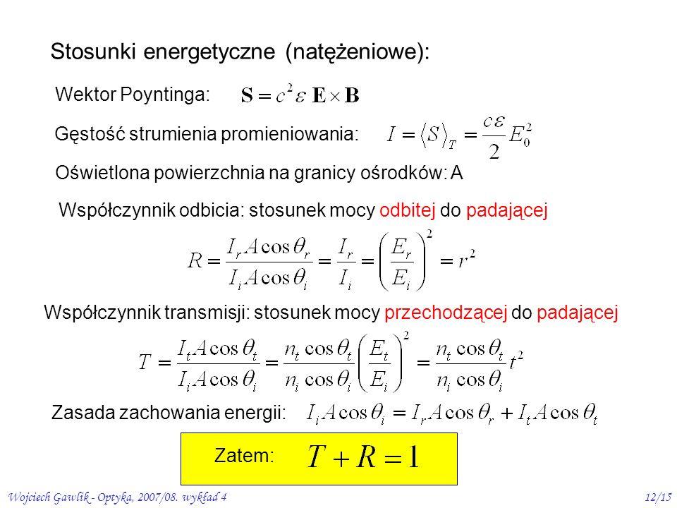 Wojciech Gawlik - Optyka, 2007/08. wykład 412/15 Stosunki energetyczne (natężeniowe): Wektor Poyntinga: Gęstość strumienia promieniowania: Oświetlona