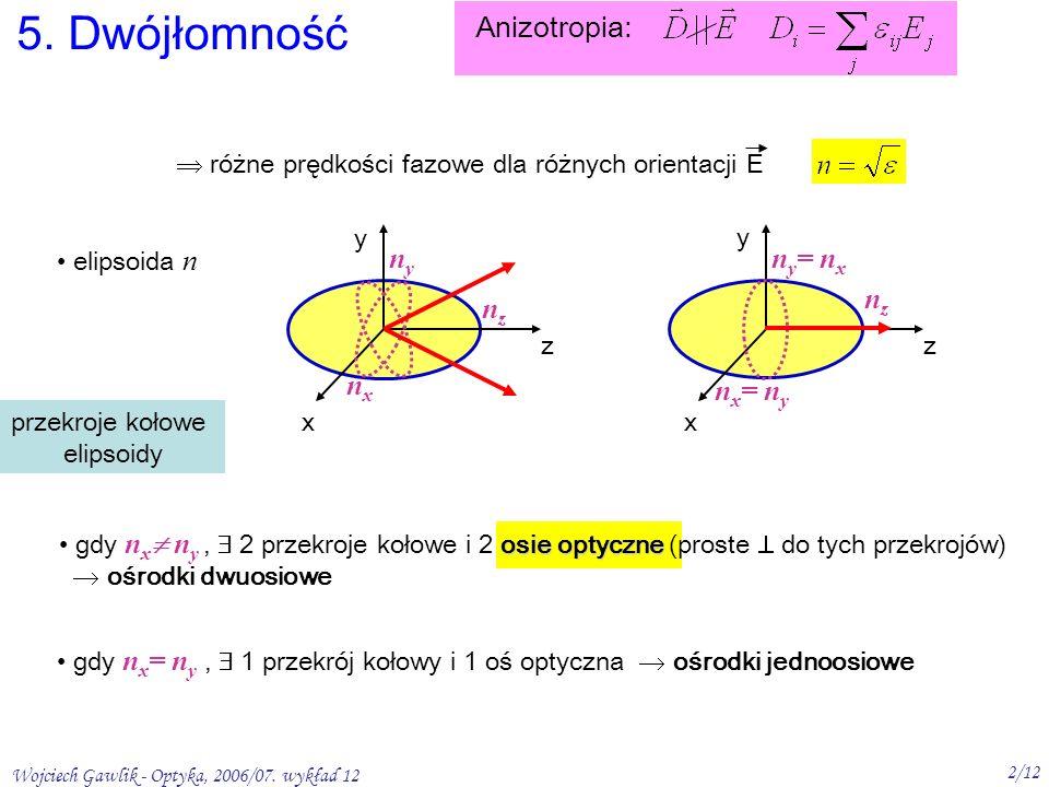 Wojciech Gawlik - Optyka, 2006/07. wykład 12 2/12 osie optyczne gdy n x n y, 2 przekroje kołowe i 2 osie optyczne (proste do tych przekrojów) ośrodki